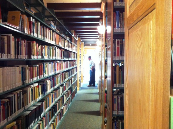 Gazing down the long corridor in Scott Hahn's massive home library.