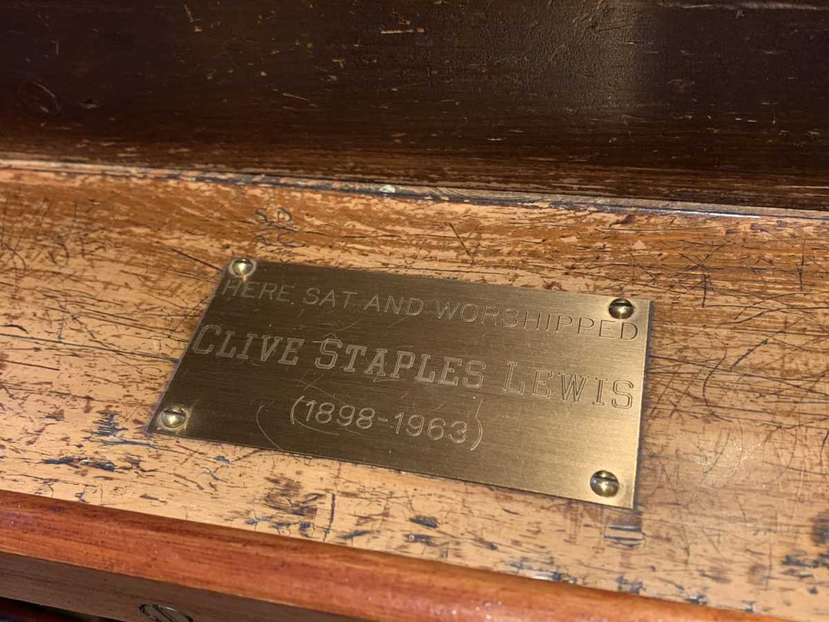 Plaque marking the pew where C.S. Lewis and his brother sat for church each Sunday.