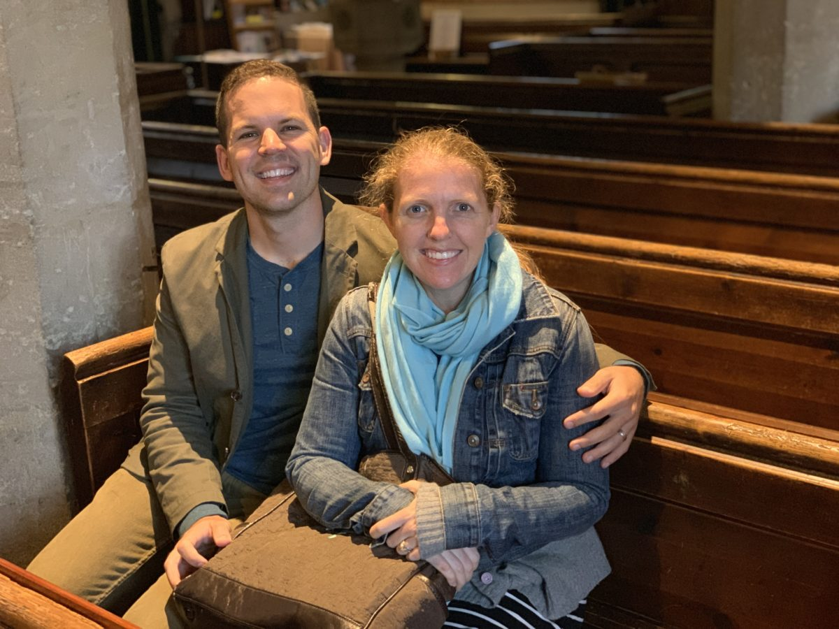 Kathleen and I sitting in the pew where C.S. Lewis and his brother, Warnie, worshiped each Sunday.